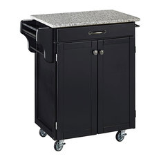 Kitchen Cart Cabinet Adjustable Inner Shelving And Small Front Drawer Black/Sa