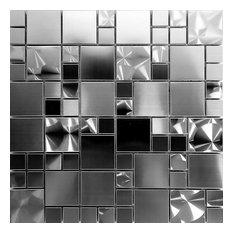 "Unique Stainless Steel Mosaic Tile Kitchen Backsplash Bath, 12""x12"", Set of 5"
