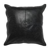 "Cheyenne 100% Leather 22""x22"" Throw Pillow by Kosas Home, Black"