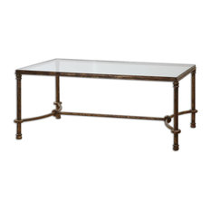 Rustic Equestrian Iron Cocktail Table With Glass Top