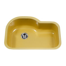"Porcela Series Offset Single Kitchen Sink, 31"", Lemon"