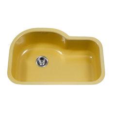 "Porcela Series Offset Single Kitchen Sink, 31"", Lemon"