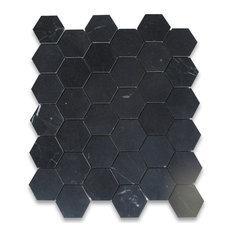 "Nero Marquina Black Marble 2"" Hexagon Mosaic Tile Honed"