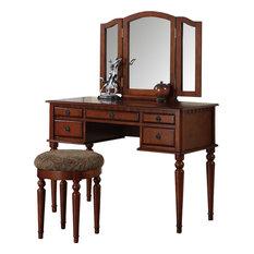 pdx 3piece bedroom vanity set table mirror stool walnut