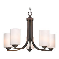 Modern 5-Light Chandelier with Opal White Cylinder Glass in Bronze