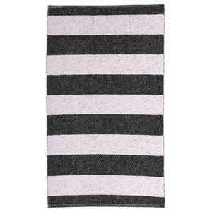 Chunky Stripe Woven Vinyl Floor Cloth, Black, 70x200 cm