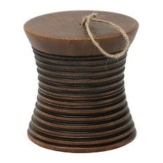 "Sagebrook Home Convex Brown Jar With Handle Box, 5"""