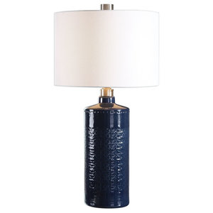 Embossed Pattern Indigo Dark Blue Table Lamp, Damask White Ceramic Cylinder