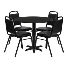 Offex 36'' Round Laminate Table Set W/4 Trapezoidal Back Banquet Chairs Black
