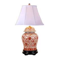 Oriental Porcelain Orange and White Ginger Jar Lamp Lotus Pattern 29""