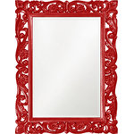 Howard Elliott - Chateau Mirror, Red - The Chateau Mirror features an ornate rectangle frame complete with scrolls and flourishes. It is then finished in a antique French pewter. The Chateau Mirror is a perfect focal point for an entryway, bathroom, bedroom or any room in your home. D-rings are affixed to the back of the mirror so it is ready to hang right out of the box in either a horizontal or vertical orientation! The mirrored glass on this piece has a bevel adding to its beauty and style.