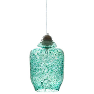 Retro Glass Jar Pendant Lamp, Turquoise