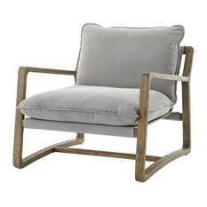 Ace Grey Pewter Oak Wood Living Room Arm Chair, Gray Pewter
