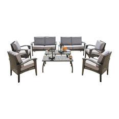 8-Piece Voyage Outdoor Wicker Seating, Gray Set