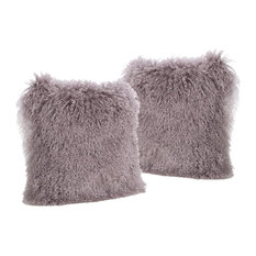 GDF Studio Marybelle Shaggy Light Purple Lamb Fur Square Pillow, Large, Set of 2