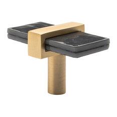Sietto Adjustable Slate Grey Glass Knob With Satin Brass Base