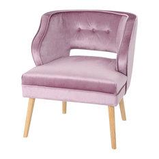 GDF Studio Michaela Mid Century Velvet Accent Chair, Light Lavender