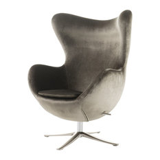 GDFStudio   Gadot Grey New Velvet Modern Swivel Chair   Armchairs And Accent  Chairs