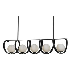 Arlo 5-Light Chandelier Matte Black Opal Glass