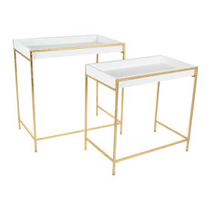 """Modern Iron and Wood Rectangular Console Tables, 2-Piece Set, 22"""""""