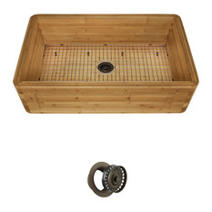 Bamboo Apron Kitchen Sink, 895, Sink, Grid and Mocha Flange