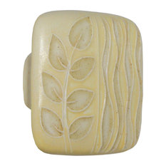 Square Ceramic Branch and Seagrass Knob, Yellow and Tan