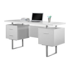 "60"" Silver Metal Computer Desk, White"