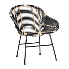 Hübsch Modern Rattan Chair with Metal Legs, Black