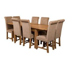 Richmond Oak Extending Table, 8 Washington Chairs, Beige Velvet Effect