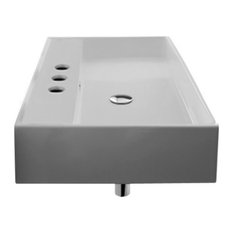 Rectangular White Ceramic Wall Mounted or Vessel Sink, Three Hole
