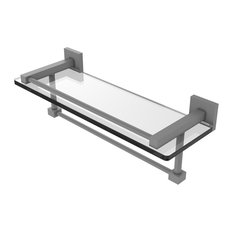 "Montero Collection 16"" Gallery Glass Shelf With Towel Bar, Matte Gray"