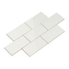 """3""""x6"""" Giorbello Ceramic Subway Tiles, Set of 120, White"""