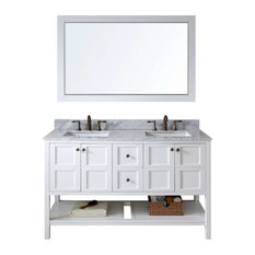 "Winterfell 60"" Double Bathroom Vanity Cabinet Set, White"
