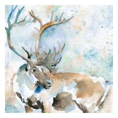 Caribou On Blue by Carol Robinson Canvas Print