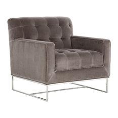 Tufted Armchair, Gray