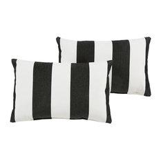 Mozaic Company - Cabana Sunbrella Outdoor Lumbar Pillow Set of 2, Black and White, 6x20 - Outdoor Cushions and Pillows