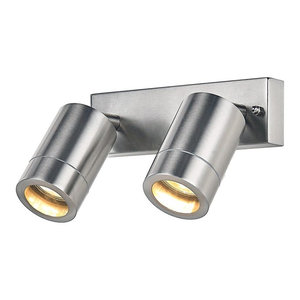 Modern Double Spot Outdoor IP44 Wall Light Fitting in Stainless Steel