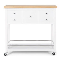 Contemporary Kitchen Island Cart, 3 Drawers With Natural Rubberwood Tabletop, Wh