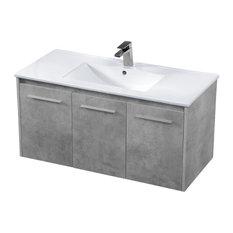 Elegant Decor Rasina 40-inch Single Porcelain Top Floating Bathroom Vanity In Gray