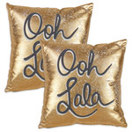 Saro Lifestyle - Metallic 'Ooh Lala' Design Cotton Throw Pillow Cover, Set of 2 - A classic phrase to add a bit of j'en ai se quoi to your home! The metallic gold finish makes a glam statement and the cursive text keeps it youthful. Made from 100% cotton for softeness and durability it's the perfect pot of gold decor accent.