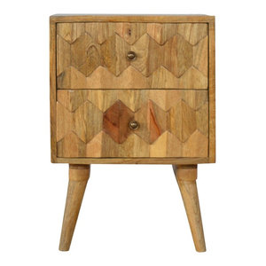 Scandinavian Style Oak 2-Drawer Bedside Table With Geometric Hand Carved Fronts