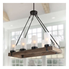8-Light Wood Kitchen Island lighting Farmhouse Ceiling Pendant