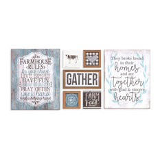 Rustic Farmhouse Mixed Media Wall Art, 7-Piece Set, Turquoise/Brown