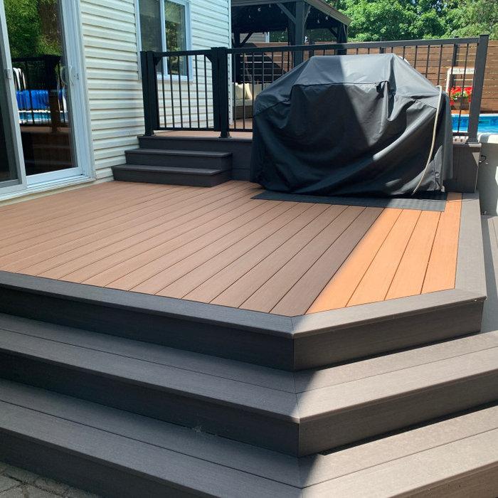 Azek Cypress and Dark hickory deck around pool