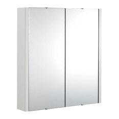 Eden Gloss White Bathroom Cabinet With Mirrored Doors, 2 Doors
