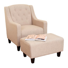 GDF Studio Empierre Tufted Fabric Chair And Ottoman