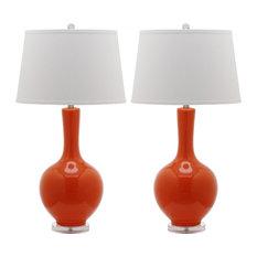 Blanche Gourd Lamps, Set of 2, Orange