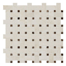 "12""x12"" Crema Marfil & Emperador Dark Polished Basket Weave Modern Mosaic"