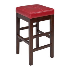 Alder Backless Leather Counter Stool Red (set Of 2)