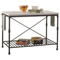 Bowery Hill Metal Kitchen Island Cart, White Marble and Black
